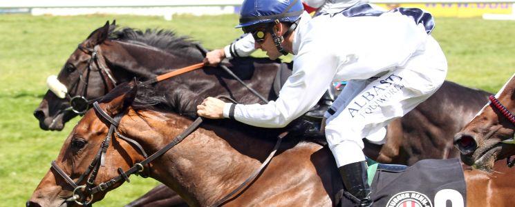 Parlan mit Marco Casamento (rote Kappe) und Perfect Pitch mit Rene Piechulek (blaue Kappe) enden im toten Rennen. (Foto: galoppfoto.de)